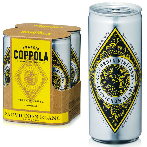 Francis Coppola Diamond Series Yellow Label California Sauvignn Blanc 4-Pack 250ml Cans