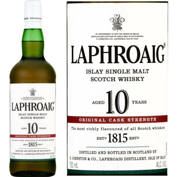 Laphroaig 10 Year Old CASK STRENGTH Islay Single Malt Scotch 750ml