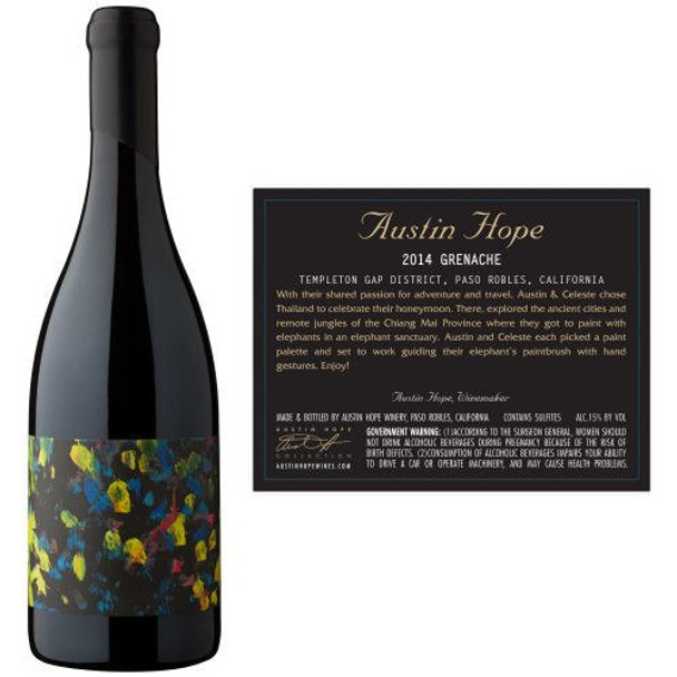 12 Bottle Case Austin Hope Templeton Gap District Paso Robles Grenache 2014 w/ Free Shipping