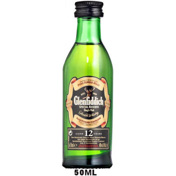 50ml Mini Glenfiddich 12 Year Old Speyside Single Malt Scotch