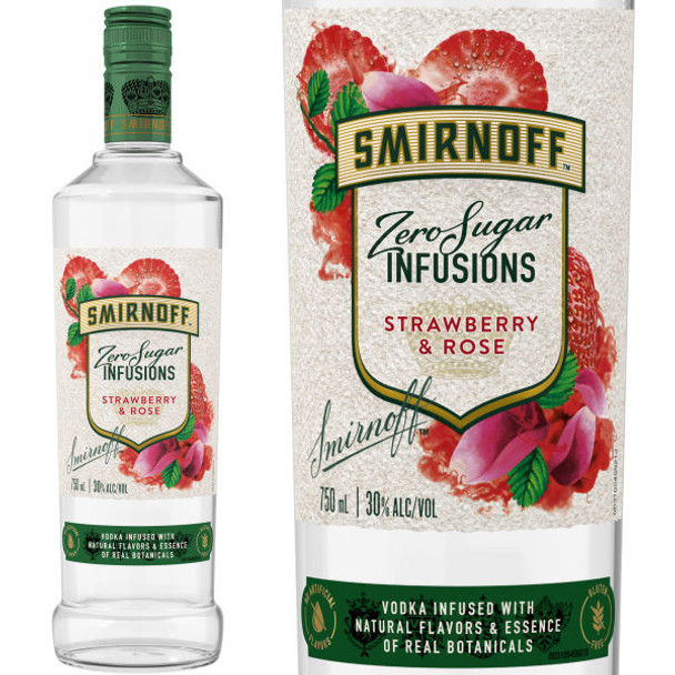Smirnoff Infusions Zero Sugar Strawberry & Rose Vodka 750ml