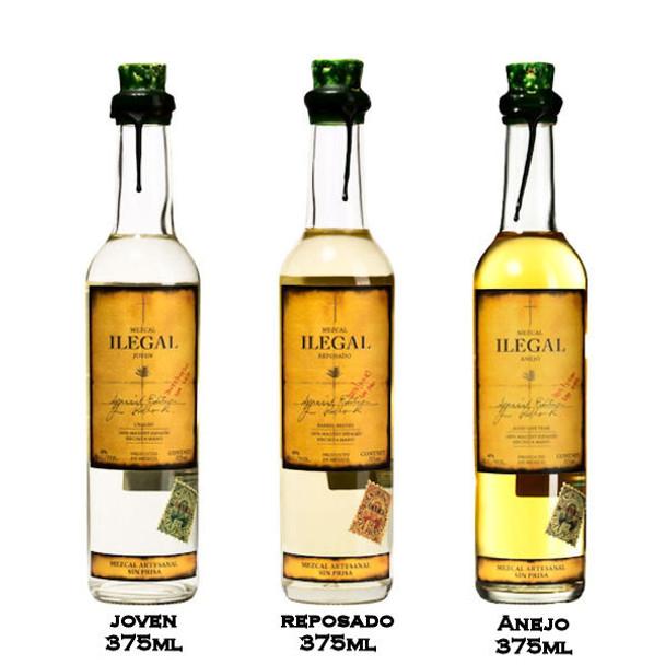 Ilegal Mezcal Joven/Reposado/Anejo Combo Pack 3-375ml Bottles