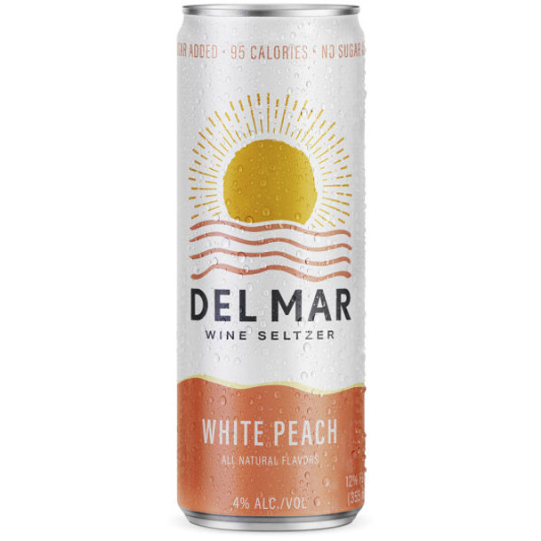 Del Mar White Peach Wine Seltzer 12oz 4 Pack Cans