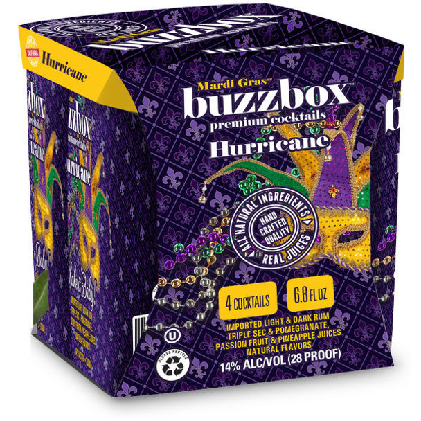Buzzbox Hurricane Cocktails 200ml 4 Pack