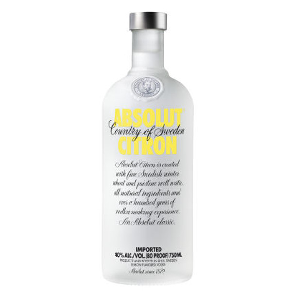 Absolut Citron Swedish Grain Vodka 750ml