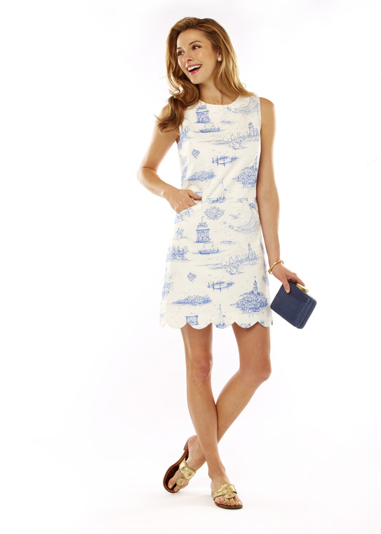 Toile Print Dress With Scallop Hem