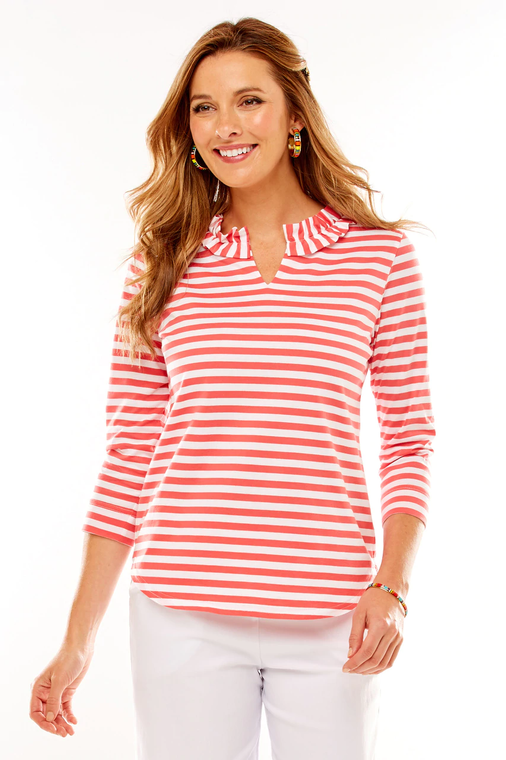 Ruffle Neck Striped Knit Top