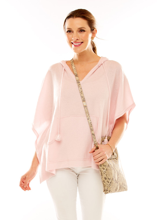 Cashmere Hooded Poncho With Tassel Tie