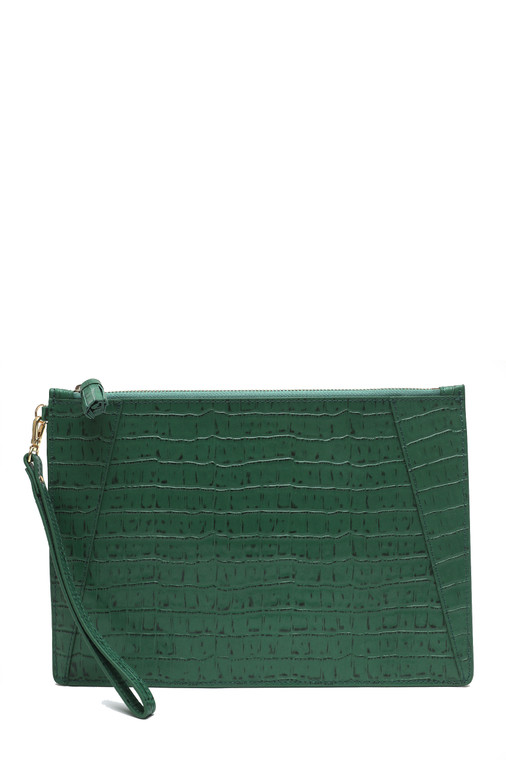 Flat Clutch Croc Embossed Leather