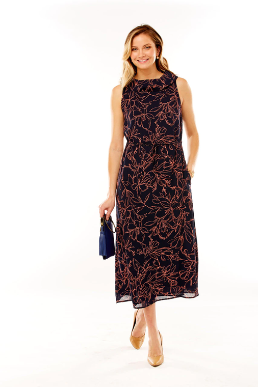 Printed Midi Dress With Rolled Collar