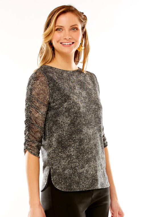 Ruched Printed Mesh Top