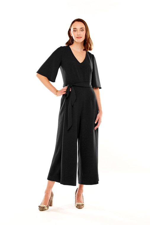 Cropped Jumpsuit With Elbow Bell Sleeve