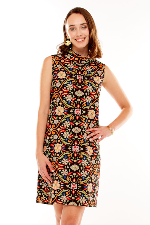 Rolled Collar Shift Dress With Back Pleat