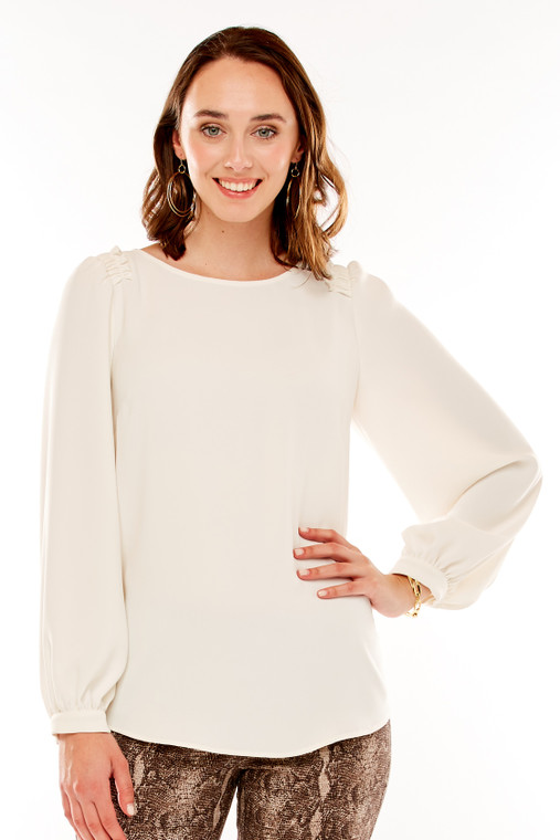 Crepe Top With Ruffles and Balloon Sleeves