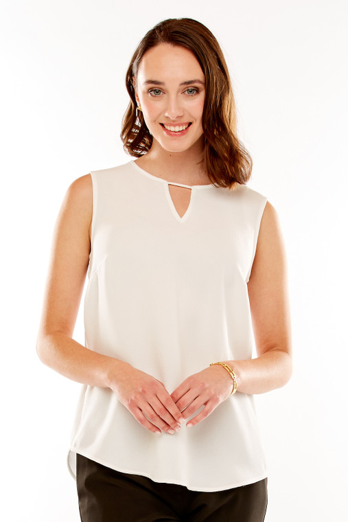 Crepe Top With Front Keyhole