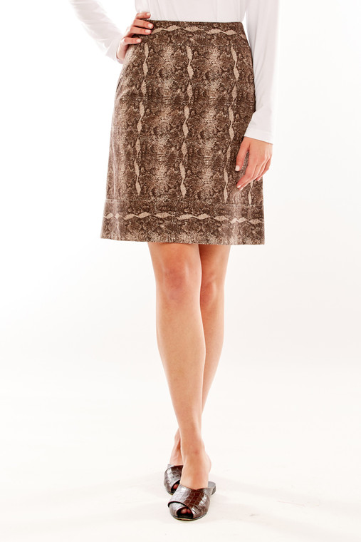 Snake Skin Print Skirt With Front Welt Pockets
