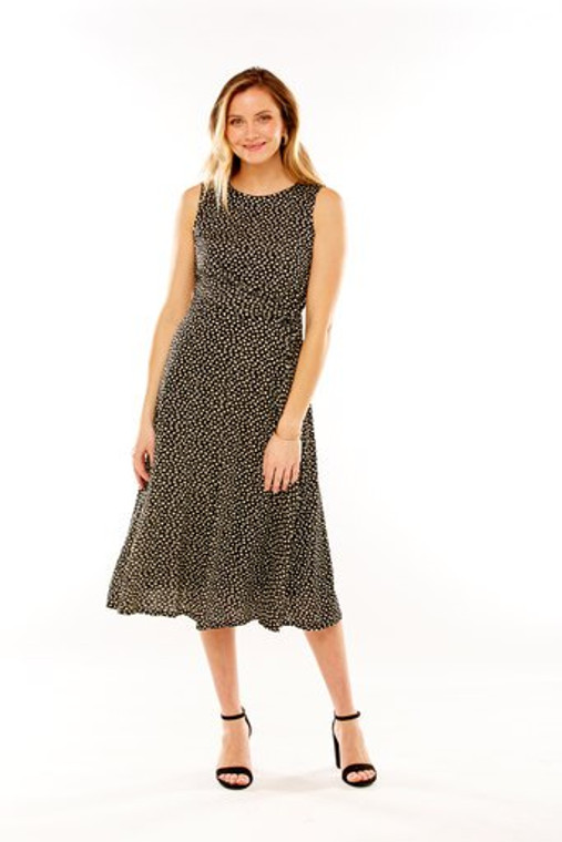 Printed Knit Dress With Asymmetrical Tie