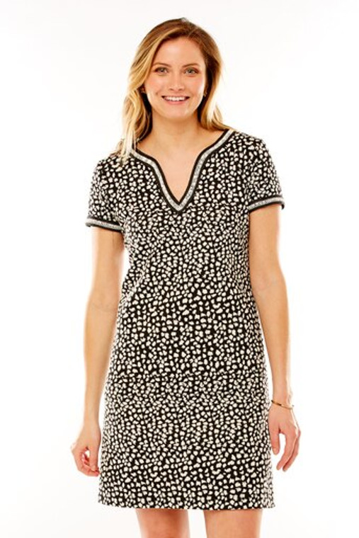 Knit Animal Print Shift With Specialty Trim