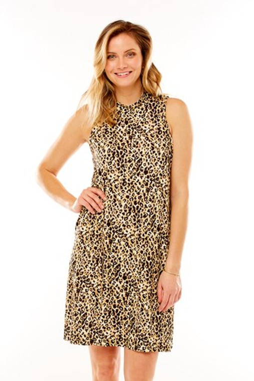 Leopard Print Mock Neck Trapeze Dress