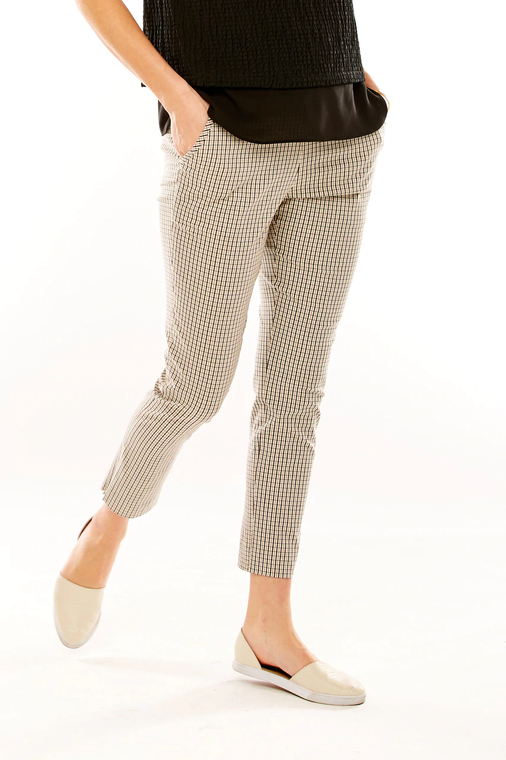 Plaid Pant With Back Ric-Rac Trimmed Slit