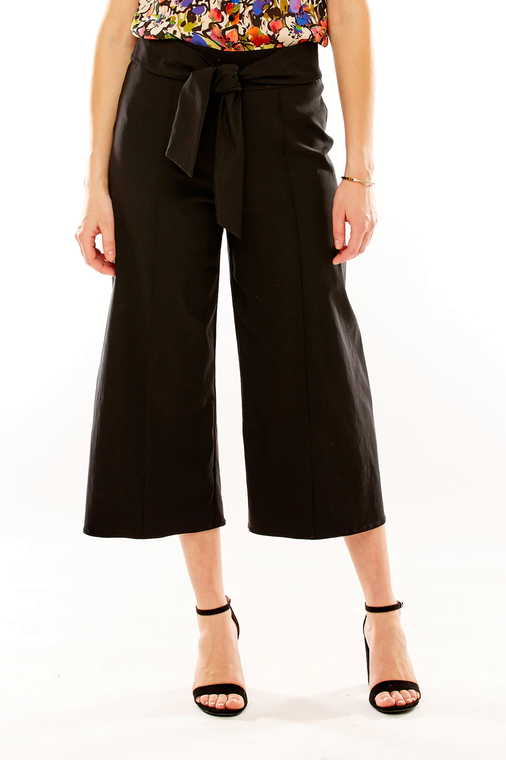 Tie Waist Cropped Palazzo Pant