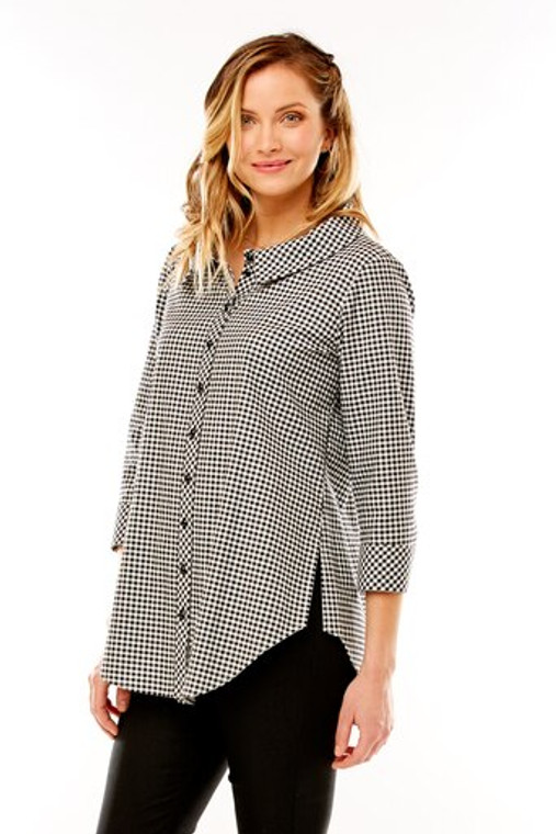 Button Up Gingham Shirt With Back Pleats