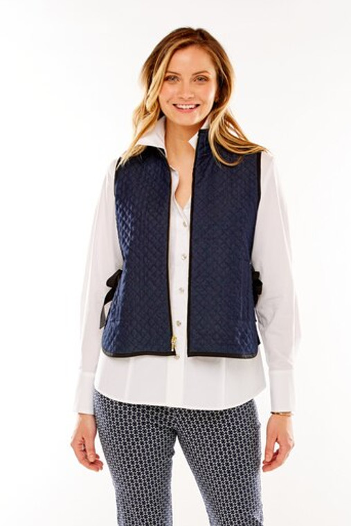 Quilted Vest With Grosgrain Side Ties