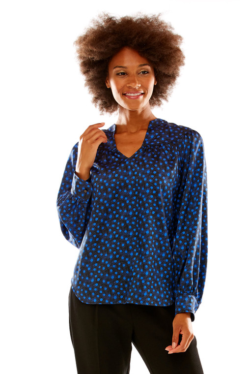Dot Print Blouse With Rounded Yoke