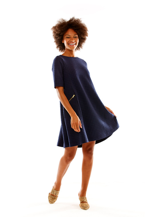 Quilted Knit Swing Dress With Zipper Pockets