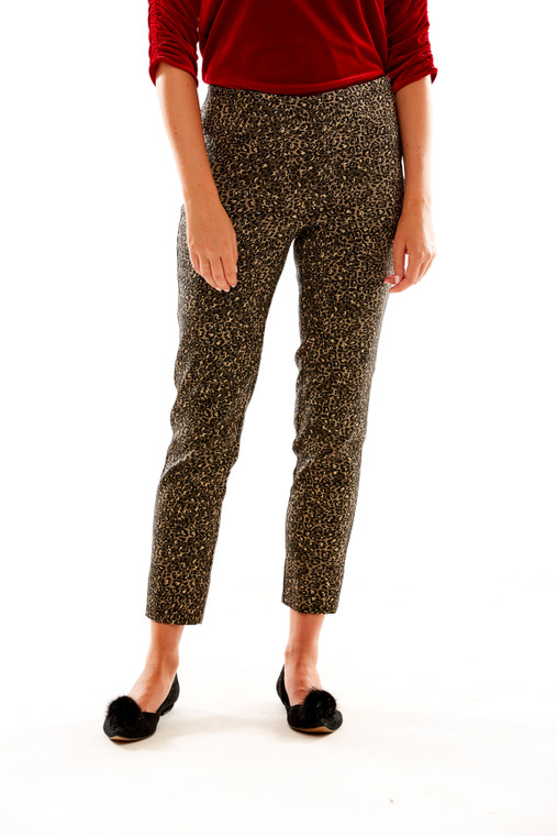 Metallic Leopard Side Zip Pant