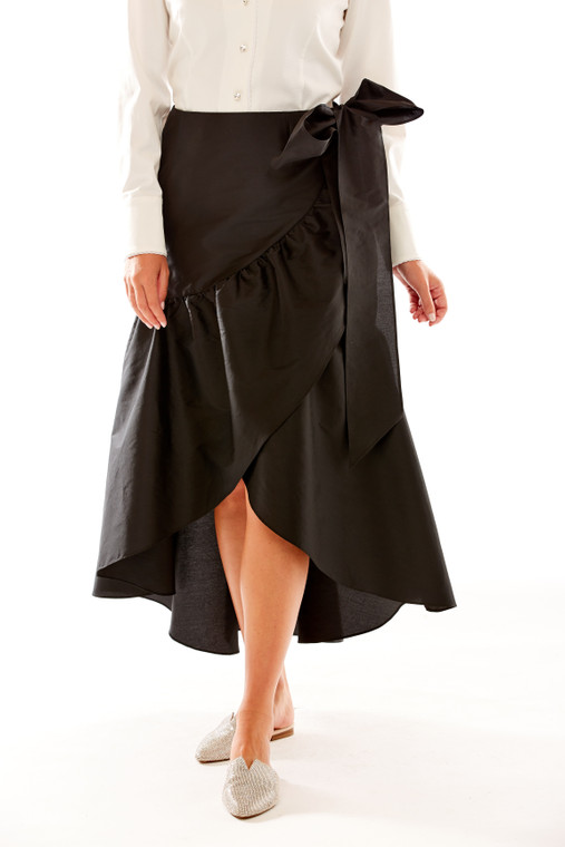 Ruffle Wrap Hi Low Taffeta Skirt