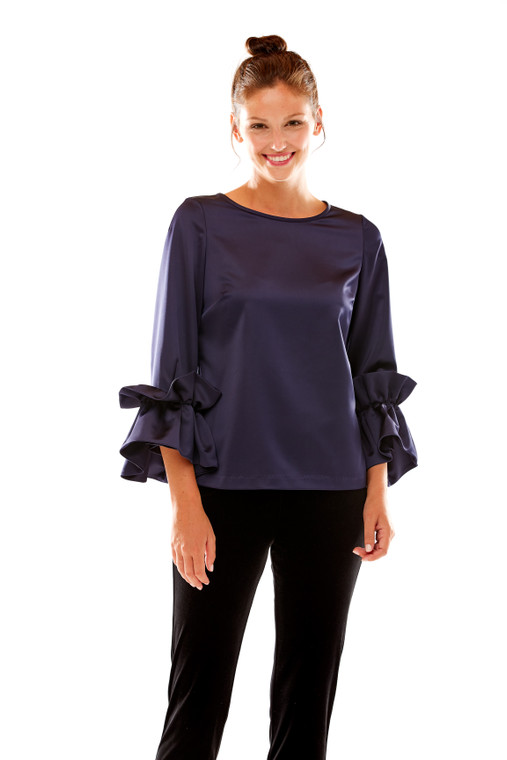 Ruffle Sleeve Stretch Satin Top