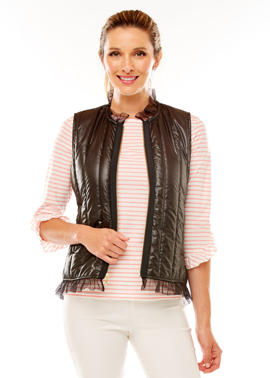 Quilted Vest With Organza Trim
