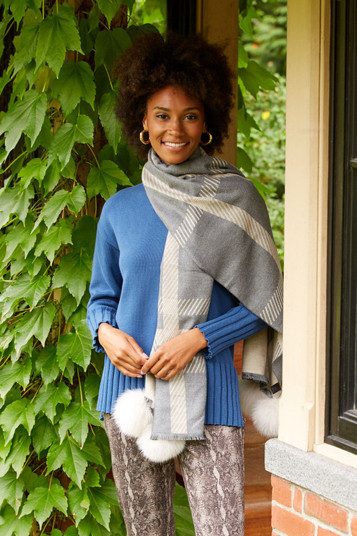 Classic Plaid Scarf With Poms
