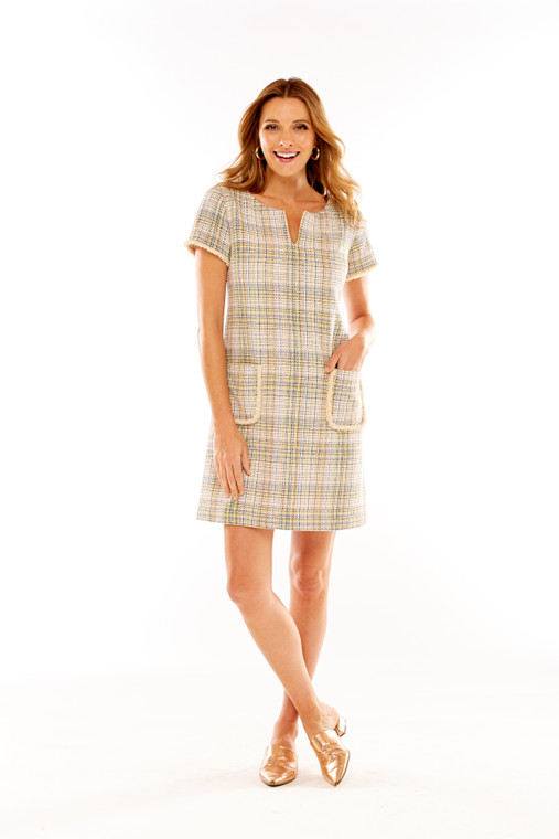 Short Sleeve Plaid Shift Dress With Patch Pockets