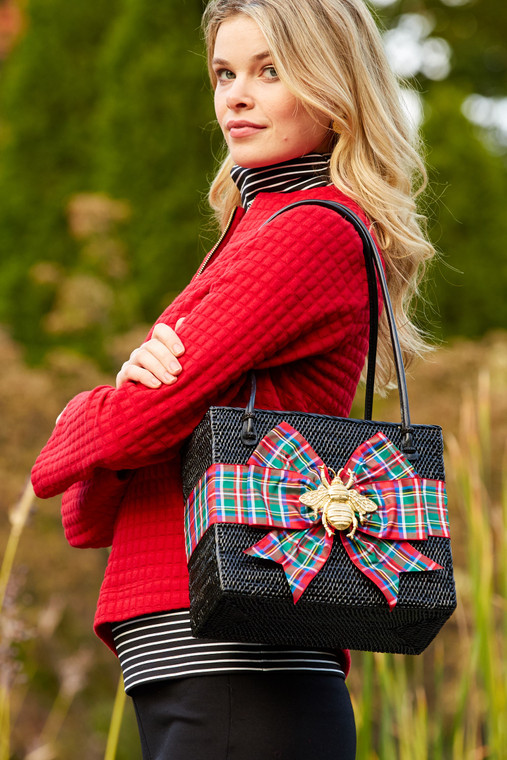 Shannon Bag With Plaid Ribbon and Bee