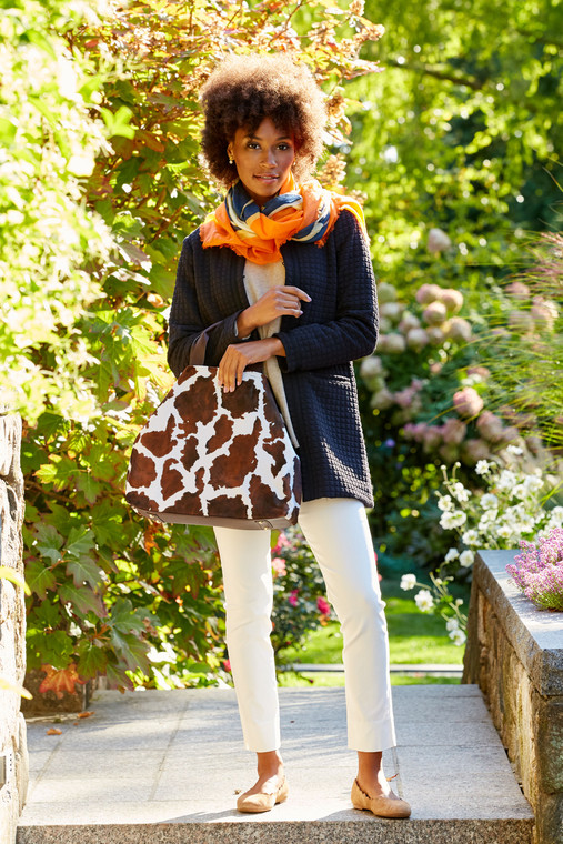Cow Print Faux Suede Tote
