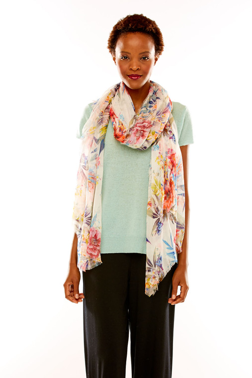 English Floral Tissue Scarf
