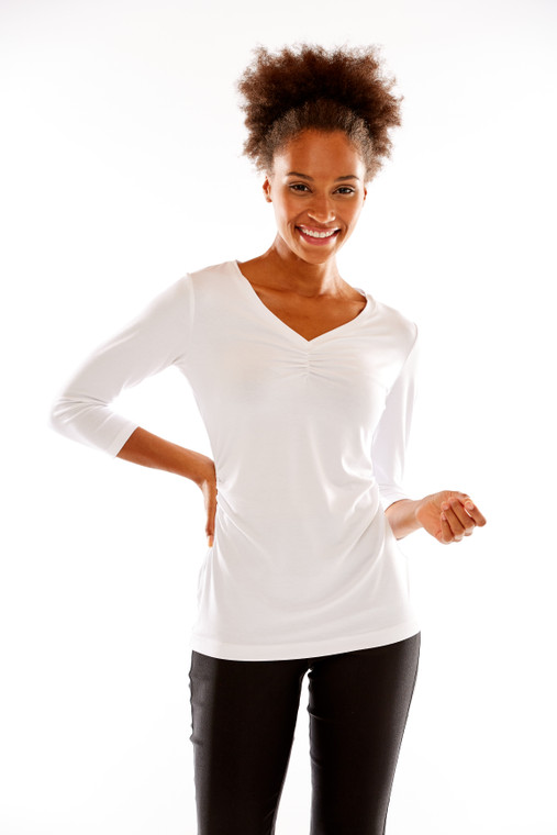 V Neck Bust and Waist Shirring Tee