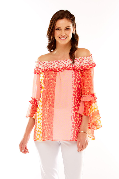 Printed Georgette On/Off The Shoulder Blouse