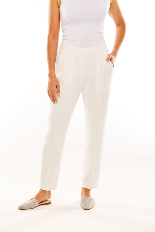 Moss Crepe Pant With Front Pleats And Knife Pocket
