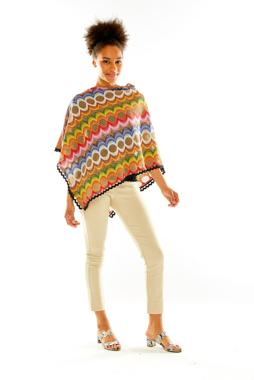 Novelty Knit Multicolor Ruana With Trim