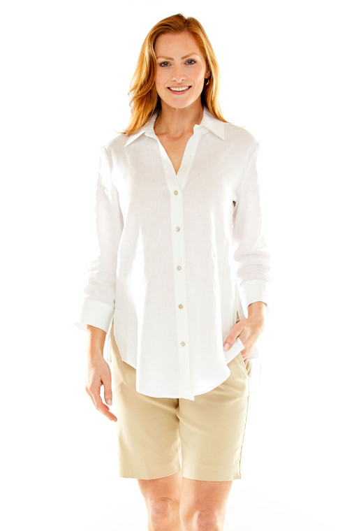 Button Front Linen Shirt With Back Pleat Detail