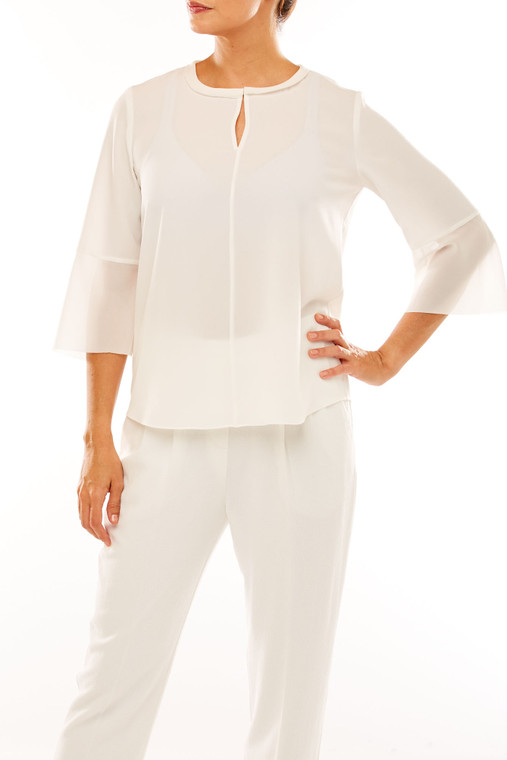 Georgette Blouse With Neck Detail And Flounce