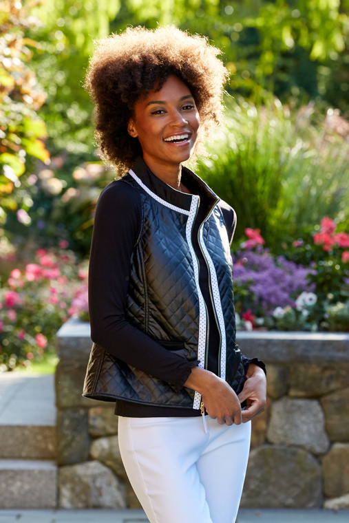 Quilted Vest With Polka Dot Trim