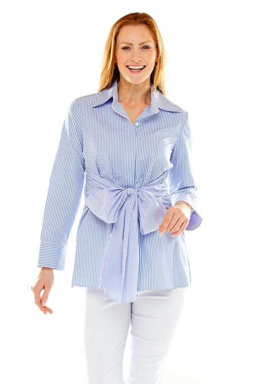 Button Front Striped Shirt With Waist Sash