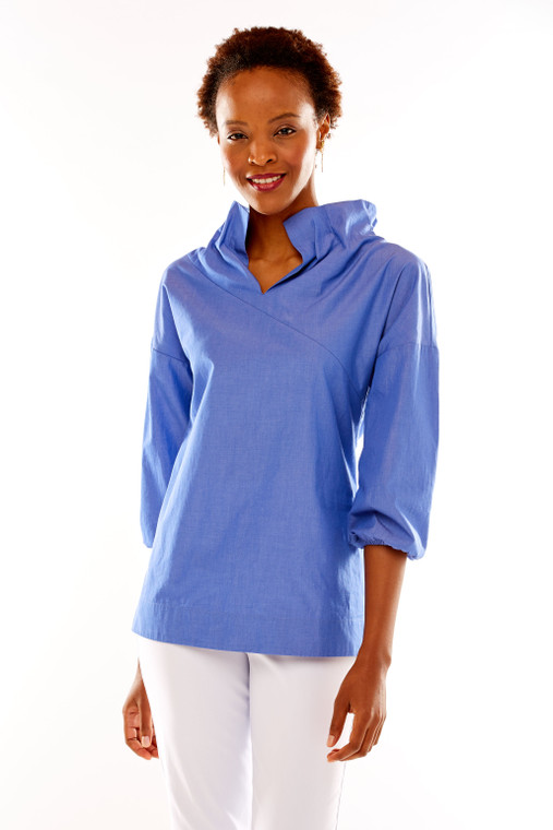 Paperbag 3/4 Sleeve Blouse With V Neck