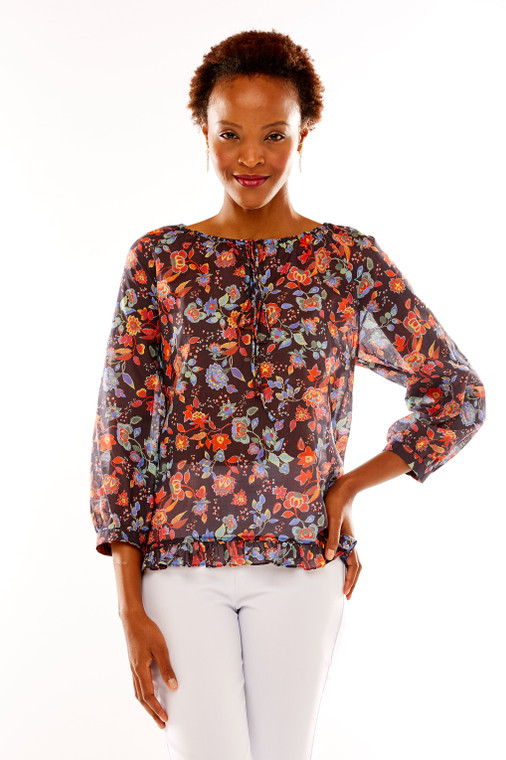 Floral Peasant Blouse With Ruffle Hem
