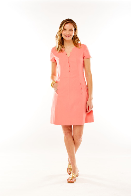 Cap Sleeve Shift Dress With Scalloping Detail