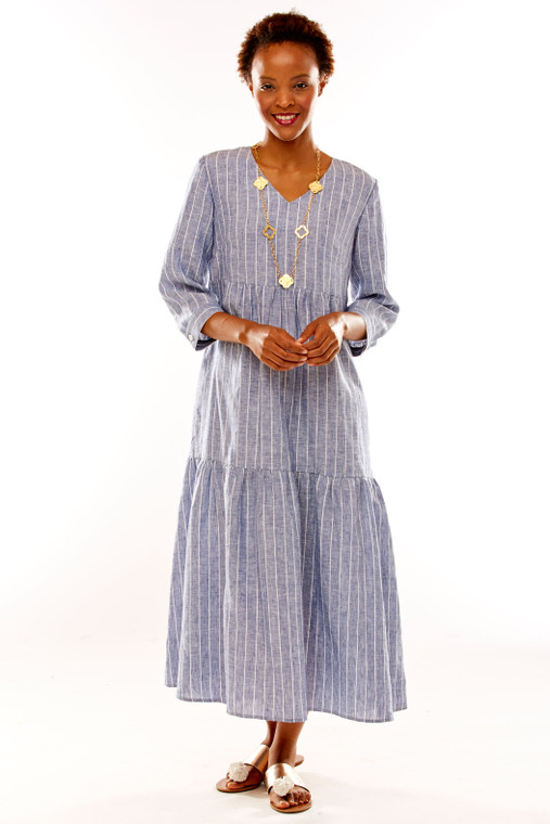 Stripe Linen Midi Dress With 3/4 Sleeves